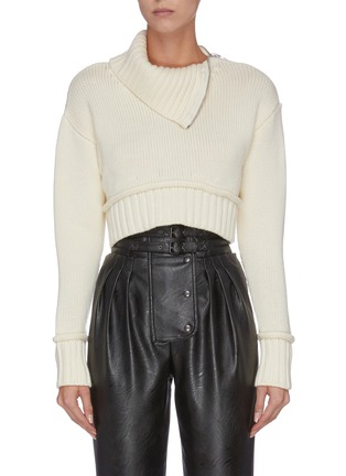 Main View - Click To Enlarge - PHILOSOPHY DI LORENZO SERAFINI - Cropped roll neck zip shoulder pipe seam knit top