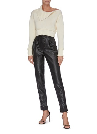 Figure View - Click To Enlarge - PHILOSOPHY DI LORENZO SERAFINI - Cropped roll neck zip shoulder pipe seam knit top
