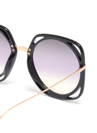 Detail View - Click To Enlarge - DIOR - 'Dior Direction' cutout acetate rim metal geometric frame sunglasses