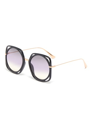 Main View - Click To Enlarge - DIOR - 'Dior Direction' cutout acetate rim metal geometric frame sunglasses