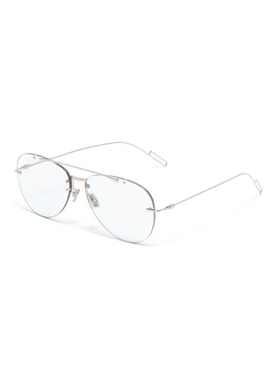 Main View - Click To Enlarge - DIOR - 'Dior Chroma' rimless metal aviator optical glasses