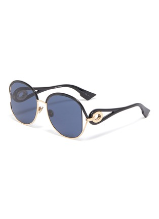 Main View - Click To Enlarge - DIOR - 'Dior New Volute' cutout metal rim acetate round sunglasses