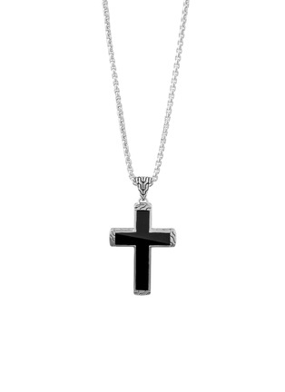 Detail View - Click To Enlarge - JOHN HARDY - 'Classic Chain' black jade sterling silver cross pendant necklace