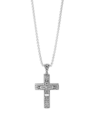 Main View - Click To Enlarge - JOHN HARDY - 'Classic Chain' black jade sterling silver cross pendant necklace