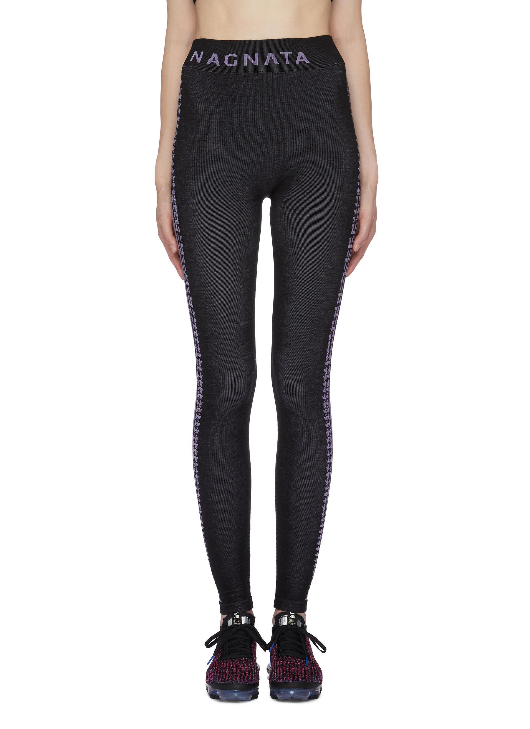 Laya houndstooth check jacquard stripe outseam performance leggings by Nagnata