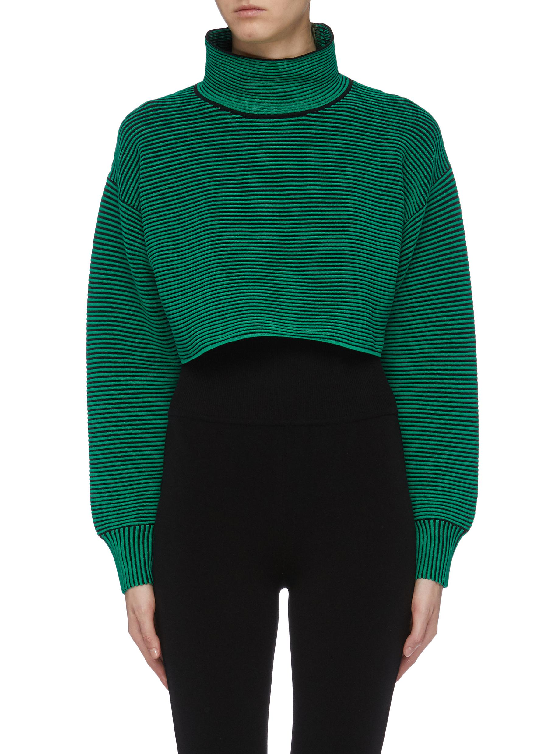 Organic cotton rib knit cropped high neck sweater by Nagnata