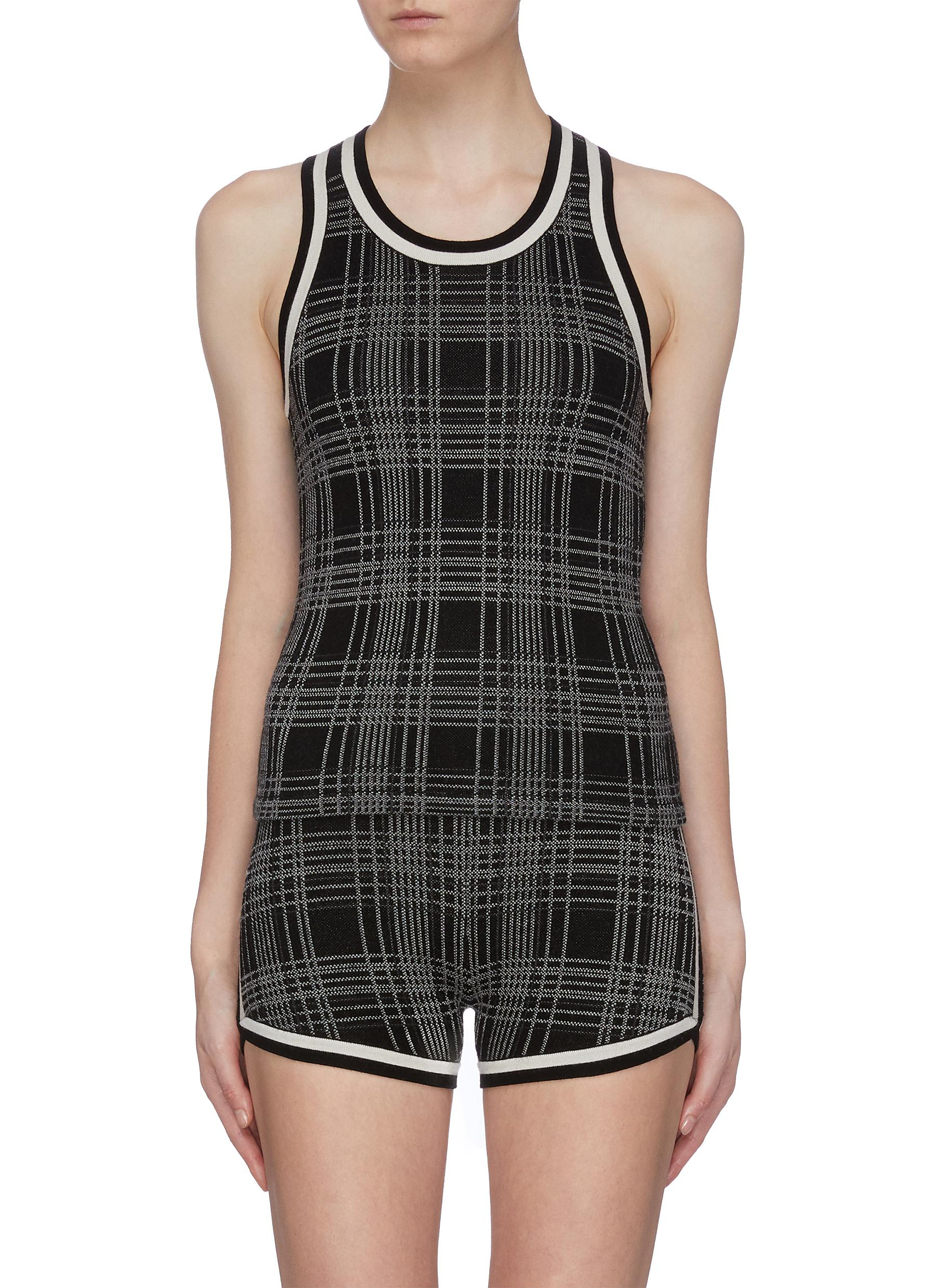 Stripe trim check plaid knit racerback tank top by Nagnata