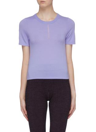 Laddered yoke Merino wool blend T-shirt