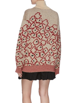 Back View - Click To Enlarge - TOGA ARCHIVES - Contrast waist floral jacquard turtleneck sweater
