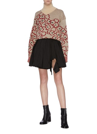 Figure View - Click To Enlarge - TOGA ARCHIVES - Contrast waist floral jacquard turtleneck sweater