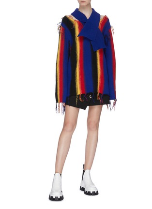 Figure View - Click To Enlarge - TOGA ARCHIVES - Frayed edge stripe colourblock wool cold shoulder top