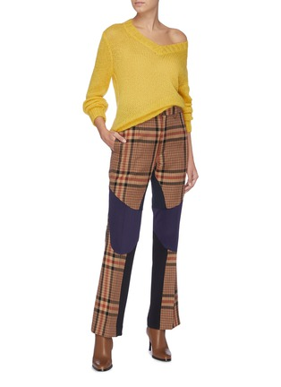 Figure View - Click To Enlarge - TOGA ARCHIVES - Colourblock wool check plaid pants