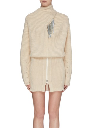 Main View - Click To Enlarge - TOGA ARCHIVES - Strass trim wrap neck sweater