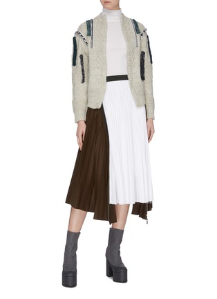Figure View - Click To Enlarge - TOGA ARCHIVES - Patchwork trim cable knit cardigan