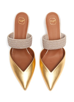 Detail View - Click To Enlarge - MALONE SOULIERS - 'Maisie' braided band metallic leather mules