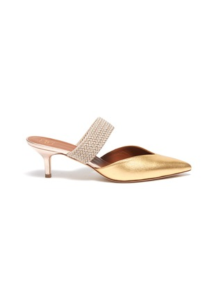 Main View - Click To Enlarge - MALONE SOULIERS - 'Maisie' braided band metallic leather mules