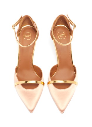 Detail View - Click To Enlarge - MALONE SOULIERS - 'Booboo' ankle strap satin pumps
