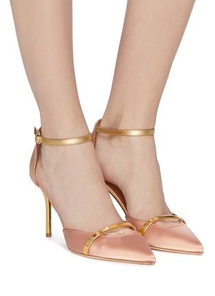 Figure View - Click To Enlarge - MALONE SOULIERS - 'Booboo' ankle strap satin pumps