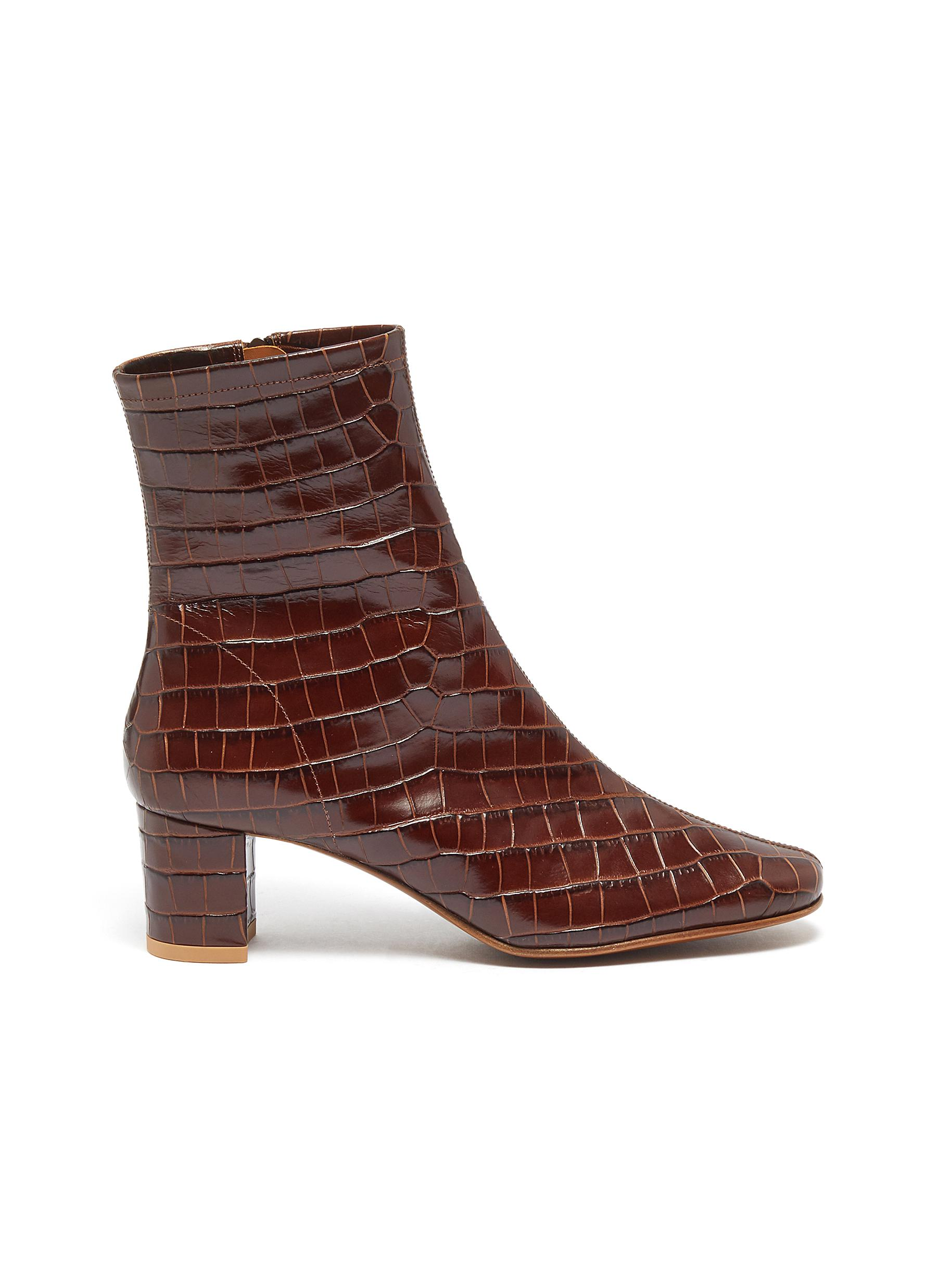Sofia croc embossed leather ankle boots by By Far