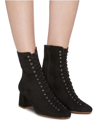 Figure View - Click To Enlarge - BY FAR - 'Becca' lace-up suede ankle boots