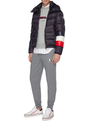Figure View - Click To Enlarge - MONCLER - 'Willm' stripe sleeve hooded down puffer jacket