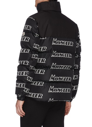 Back View - Click To Enlarge - MONCLER - 'Faiveley' logo print hooded down puffer jacket