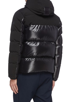 Back View - Click To Enlarge - MONCLER - 'Blanc' detachable hood contrast panel down puffer jacket