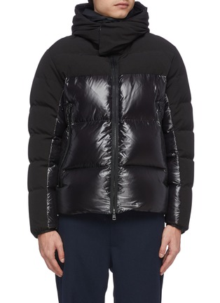 Main View - Click To Enlarge - MONCLER - 'Blanc' detachable hood contrast panel down puffer jacket