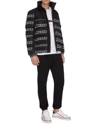 Figure View - Click To Enlarge - MONCLER - Logo stripe outseam jogging pants