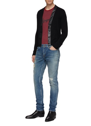 cbff4b1753f Figure View - Click To Enlarge - SAINT LAURENT - Ripped skinny fit jeans