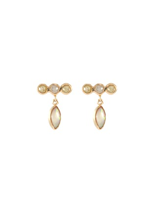 Main View - Click To Enlarge - XIAO WANG - 'Gravity' diamond opal 14k yellow gold drop earrings