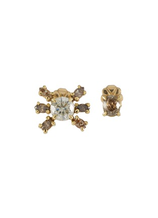 Main View - Click To Enlarge - XIAO WANG - 'Galaxy' diamond 18k yellow gold mismatched stud earrings