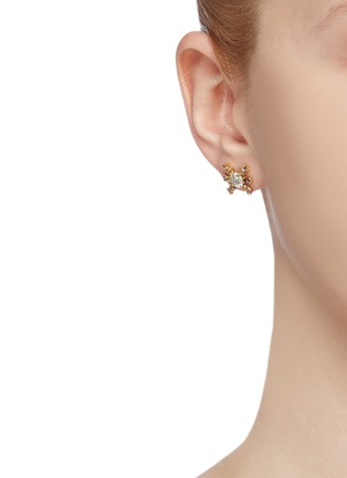 Figure View - Click To Enlarge - XIAO WANG - 'Galaxy' diamond 18k yellow gold mismatched stud earrings