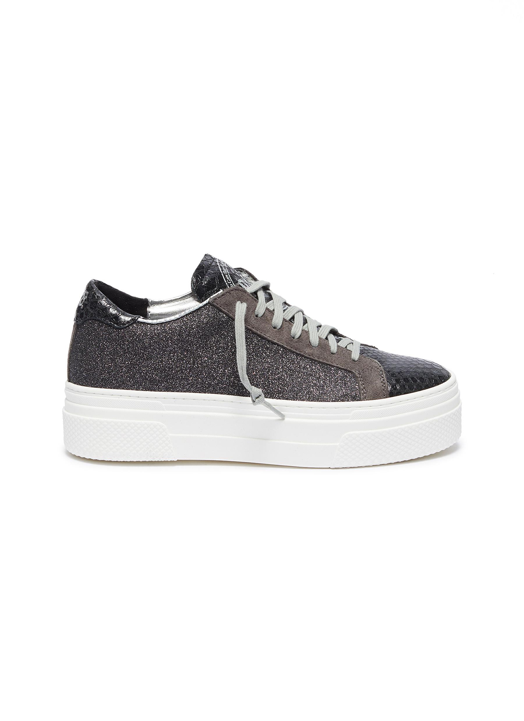 John chunky outsole panelled glitter sneakers by P448
