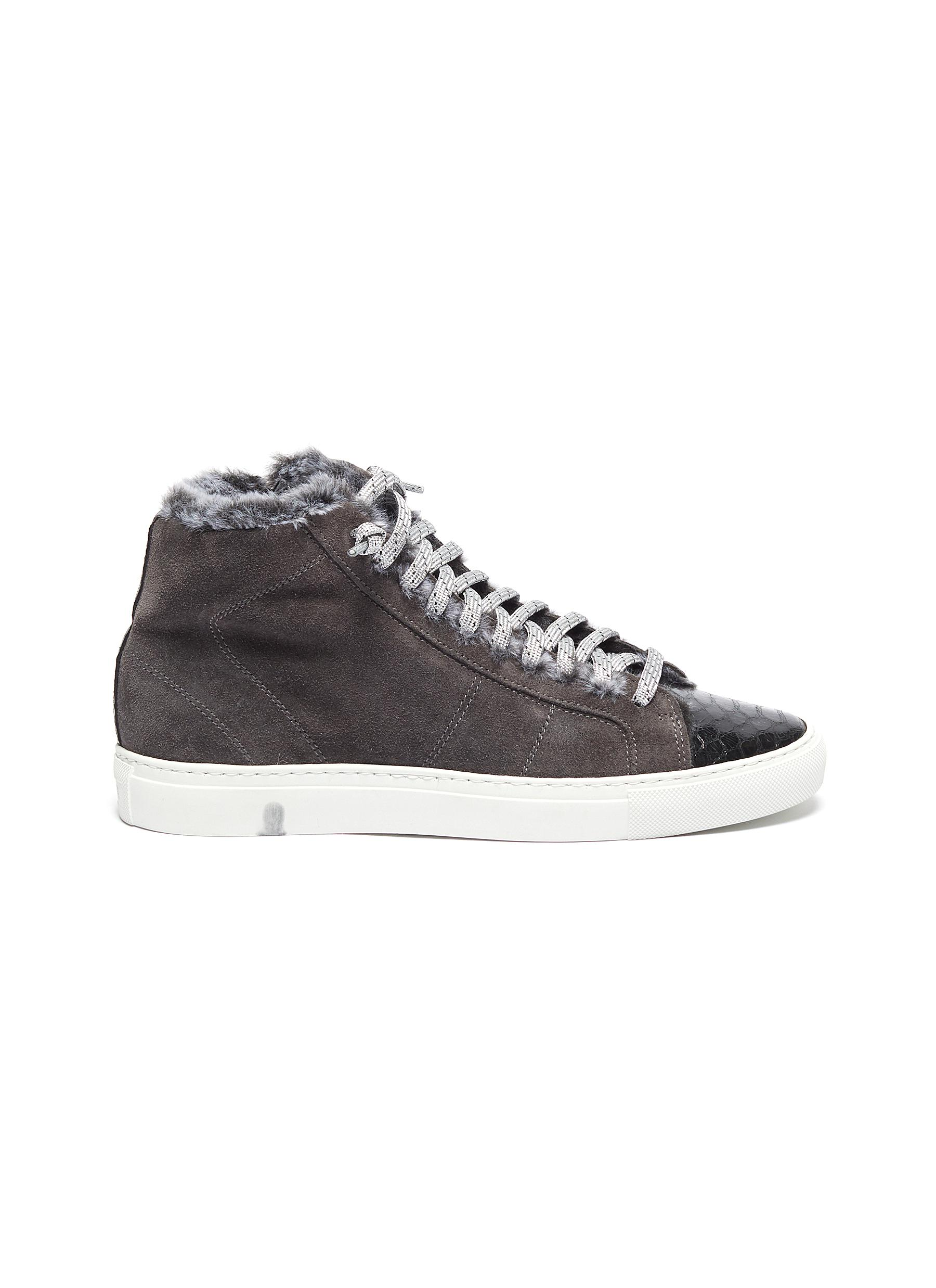 Star fur trim suede high top sneakers by P448
