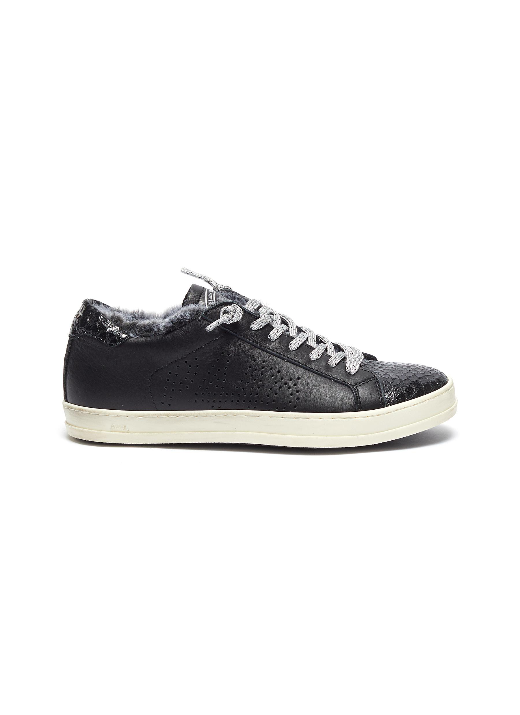 John fur trim leather low top sneakers by P448