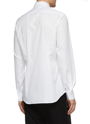 Back View - Click To Enlarge - PRADA - Logo embroidered slim fit shirt