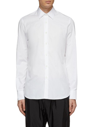 Main View - Click To Enlarge - PRADA - Logo embroidered slim fit shirt