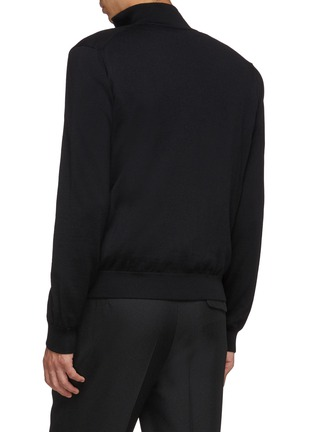 Back View - Click To Enlarge - PRADA - Zip front virgin wool cardigan