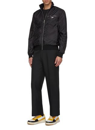 Figure View - Click To Enlarge - PRADA - Zip front virgin wool cardigan