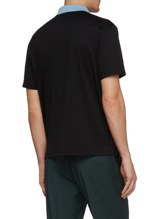Back View - Click To Enlarge - PRADA - Contrast panel patchwork polo shirt