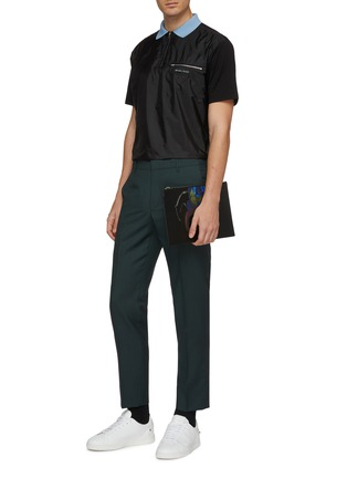 Figure View - Click To Enlarge - PRADA - Contrast panel patchwork polo shirt