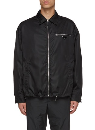 Main View - Click To Enlarge - PRADA - Retractable hood logo plate coach jacket