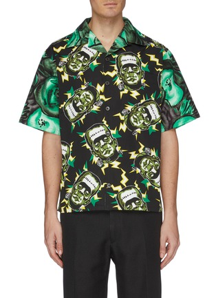 Main View - Click To Enlarge - PRADA - Frankenstein print boxy bowling shirt