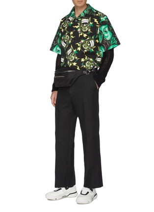 Figure View - Click To Enlarge - PRADA - Frankenstein print boxy bowling shirt