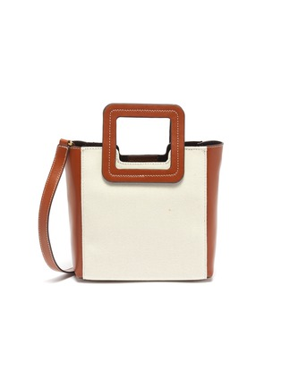 Main View - Click To Enlarge - STAUD - 'Shirley' mini leather handle canvas tote