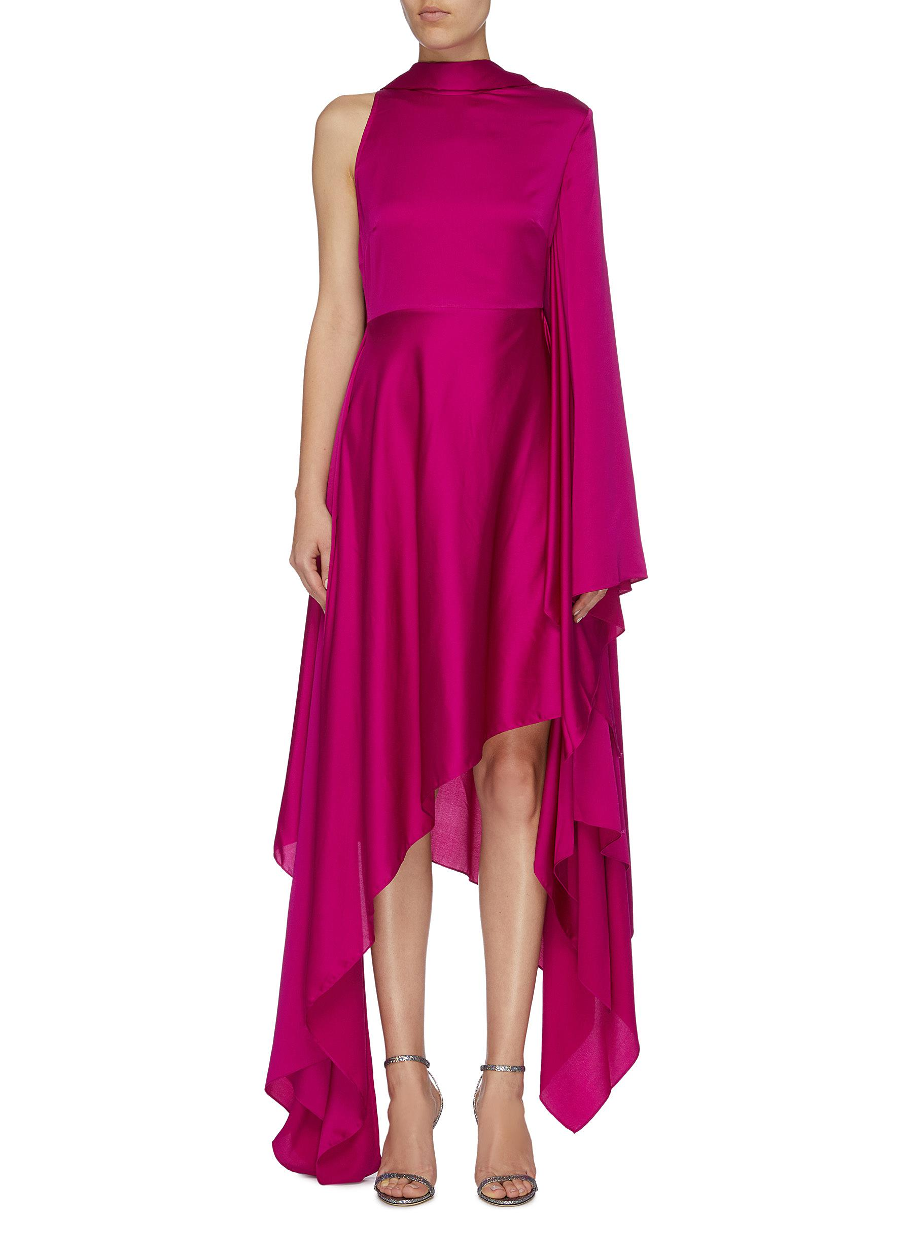 Naida waterfall drape one-shoulder satin dress by Solace London