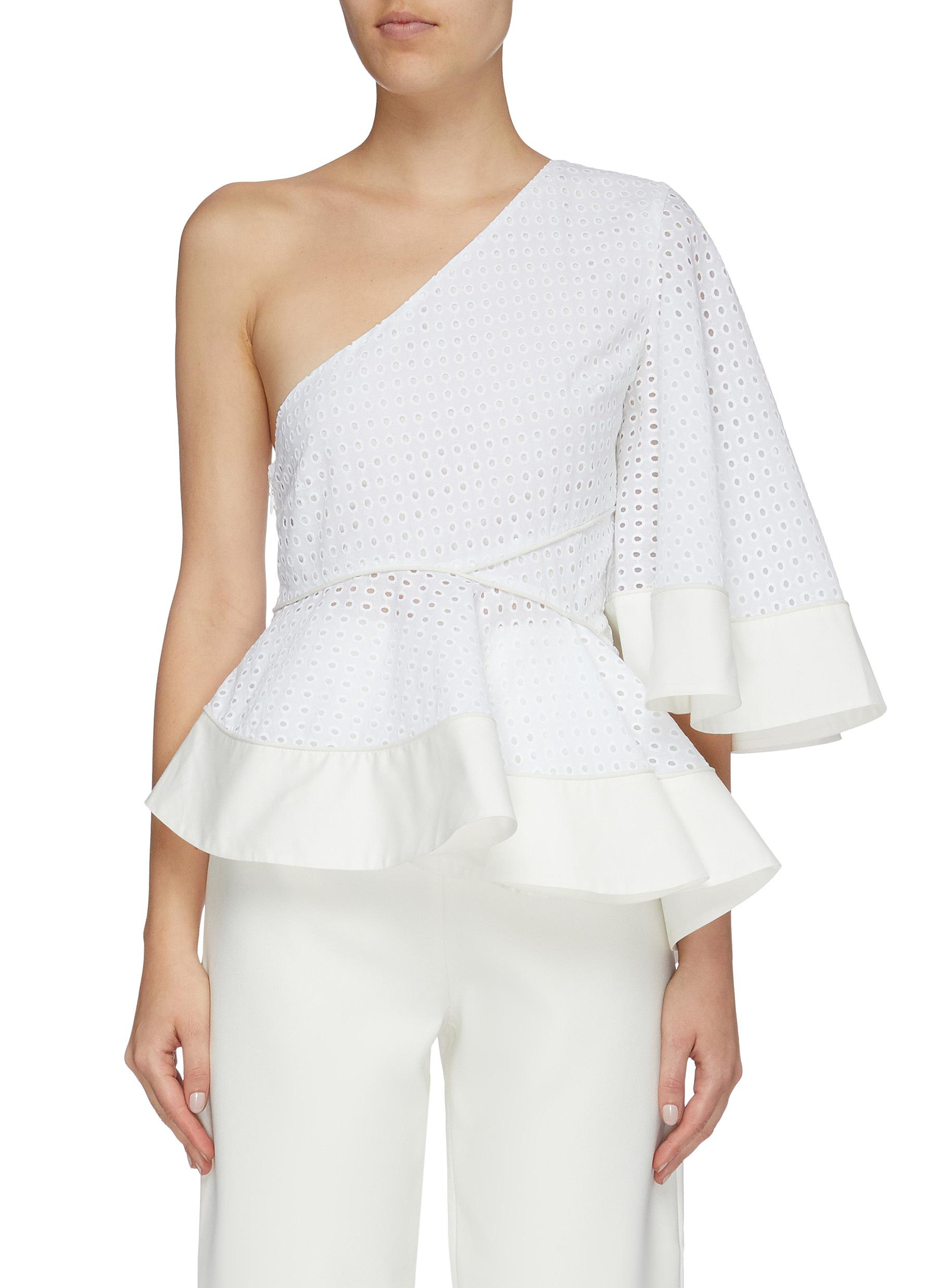 Cala broderie anglaise one-shoulder peplum top by Solace London