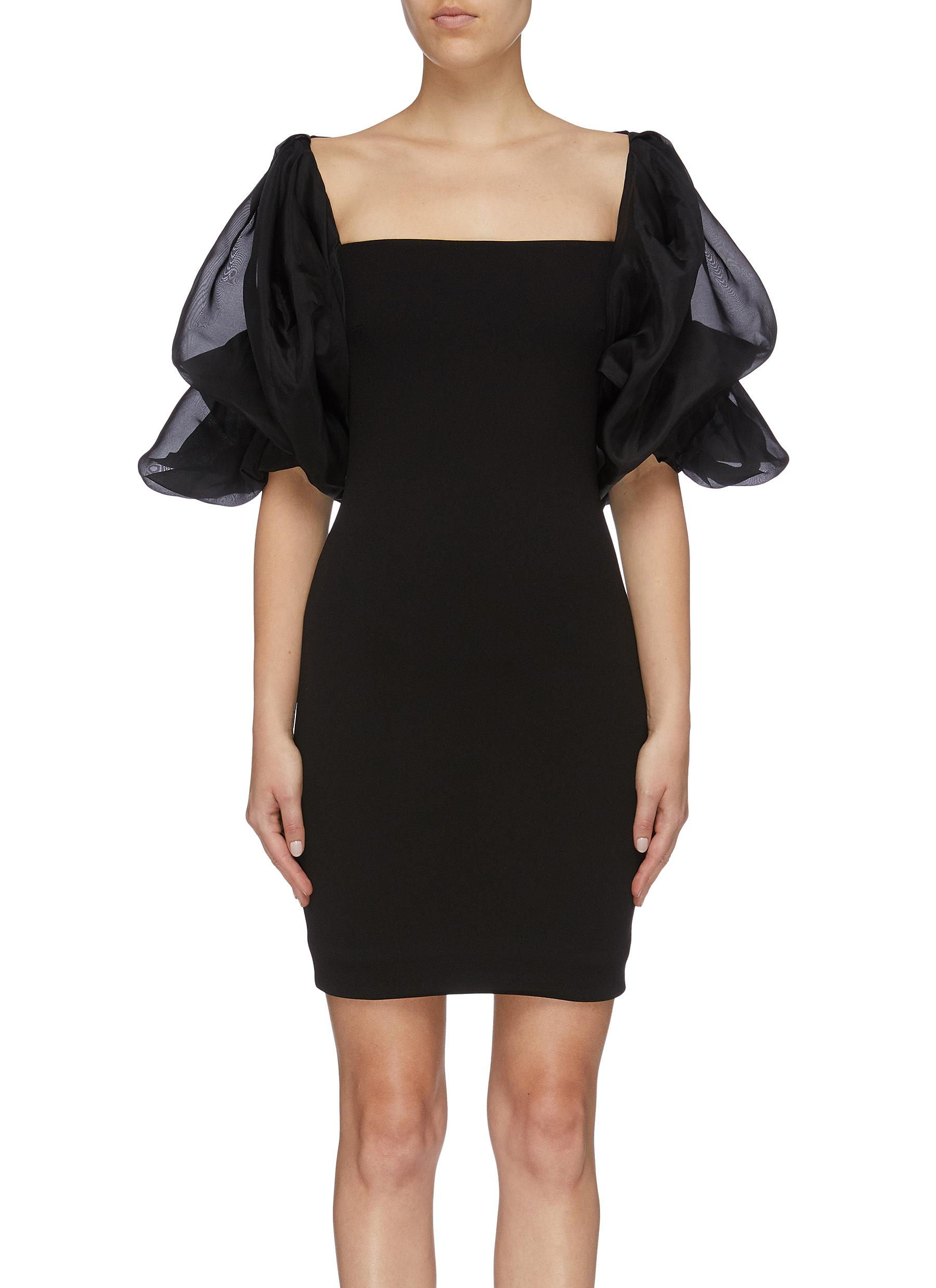 Ellice silk organza puff sleeve crepe mini dress by Solace London
