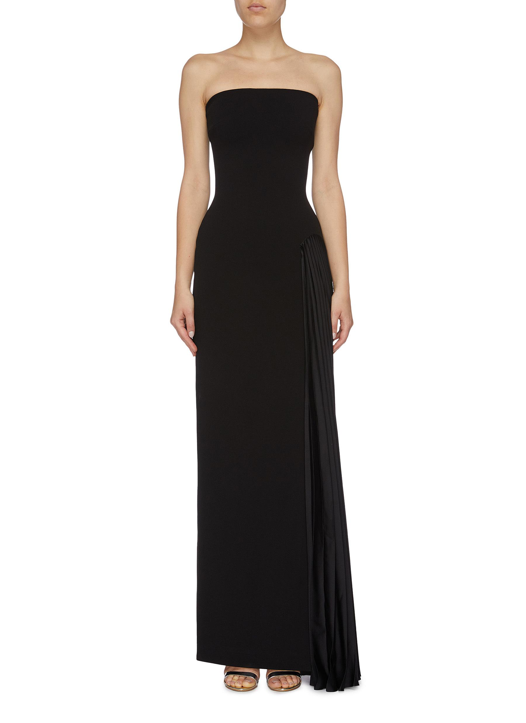 Dolly pleated satin drape strapless crepe dress by Solace London